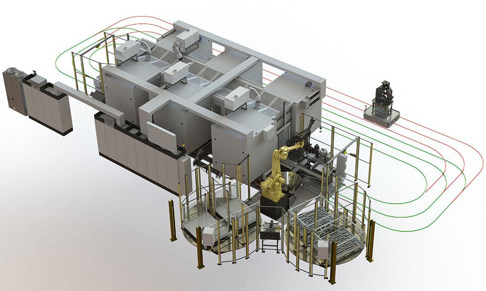 Vierachsige horizontale Transferfertigungsanlage Achslagerbock