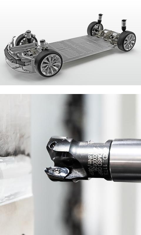 Leistungsstarke Motorspindeln für kräftige Zerspanen an den Schweißnähten der Batterierahmen (e-Mobility)