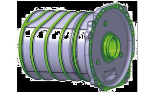 Elektromotor – Statoringmangel mit Kühlkanal und Lagerschild